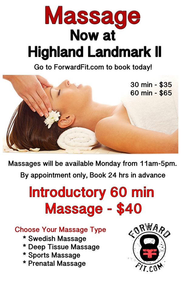 Massage now at Highland Landmark